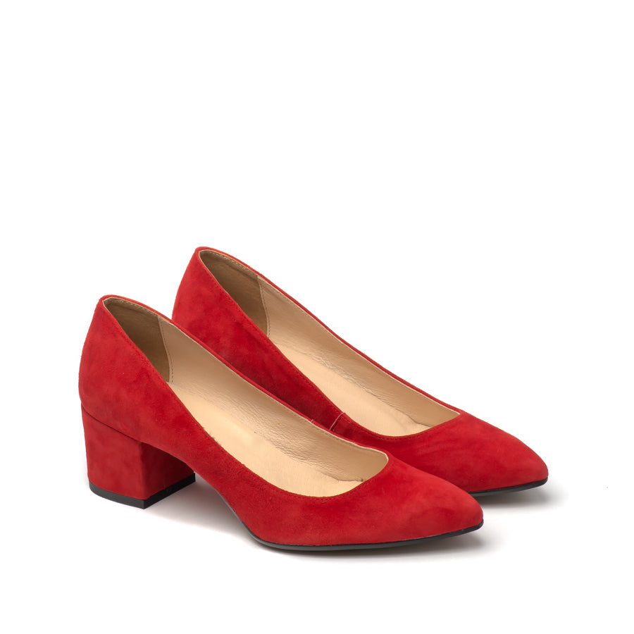 Red court shoes handmade from suede leather