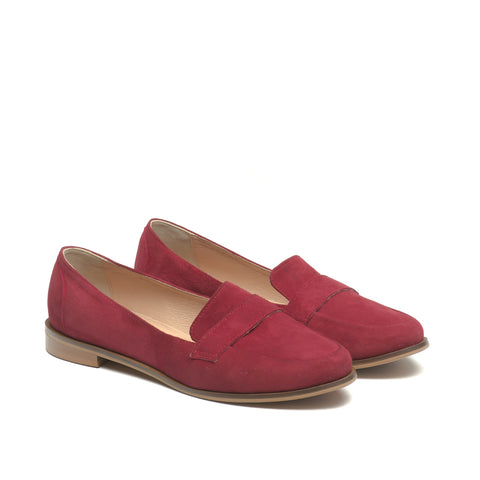 Maroon loafers handmade from real leather