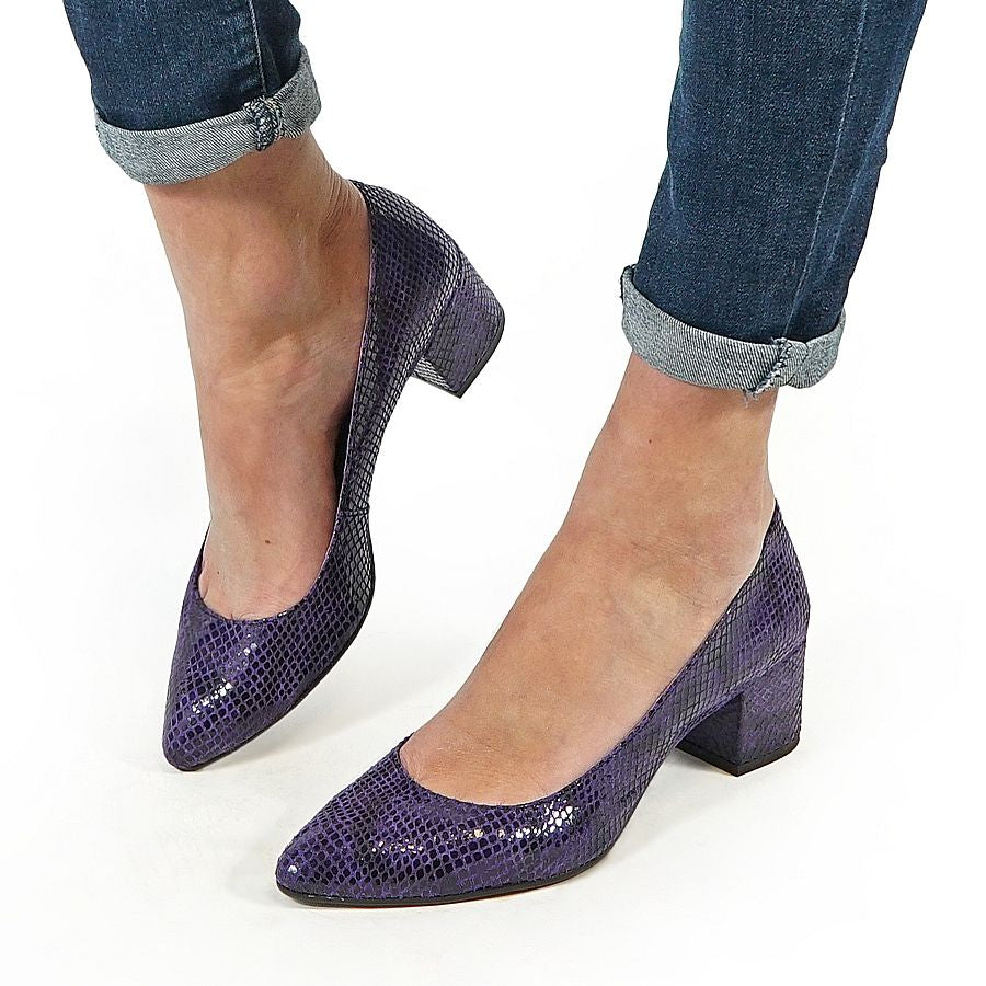 handmade real leather purple high heels