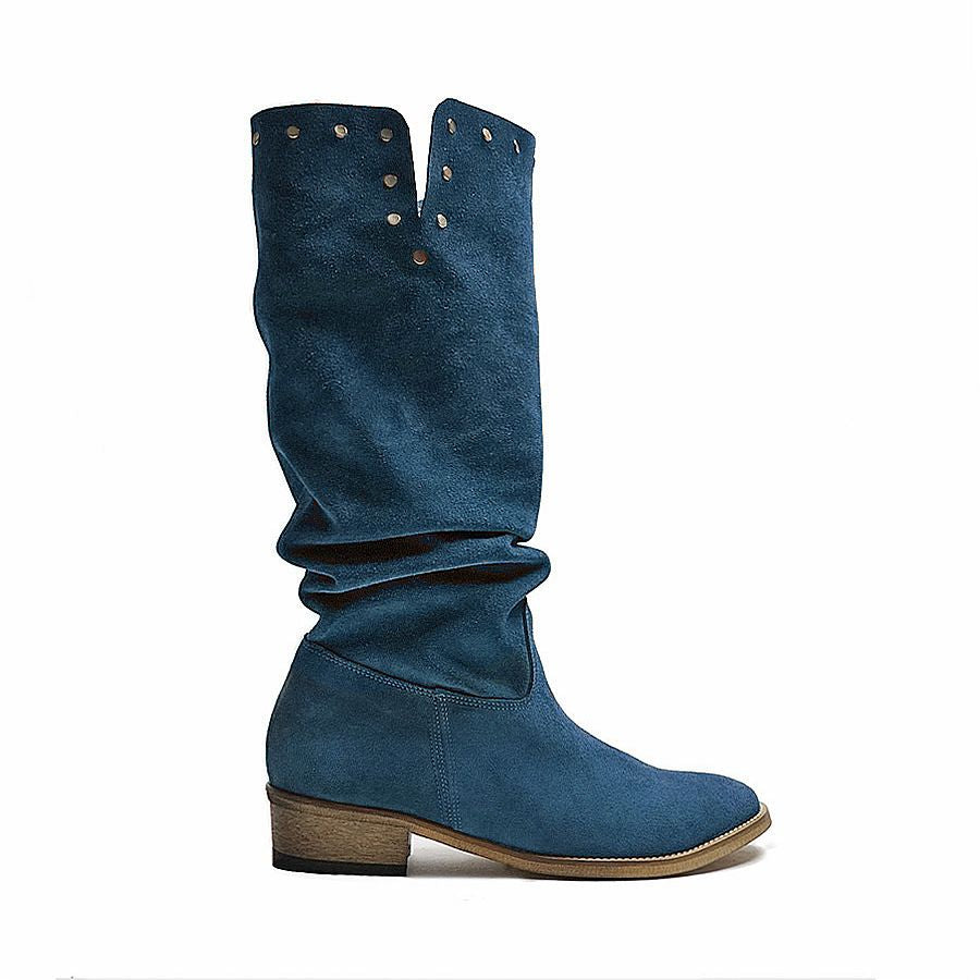Blue winter boots made from real leather