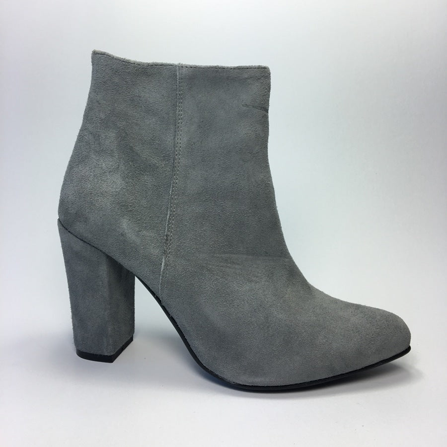 Grey ankle boots handmade from suede leather