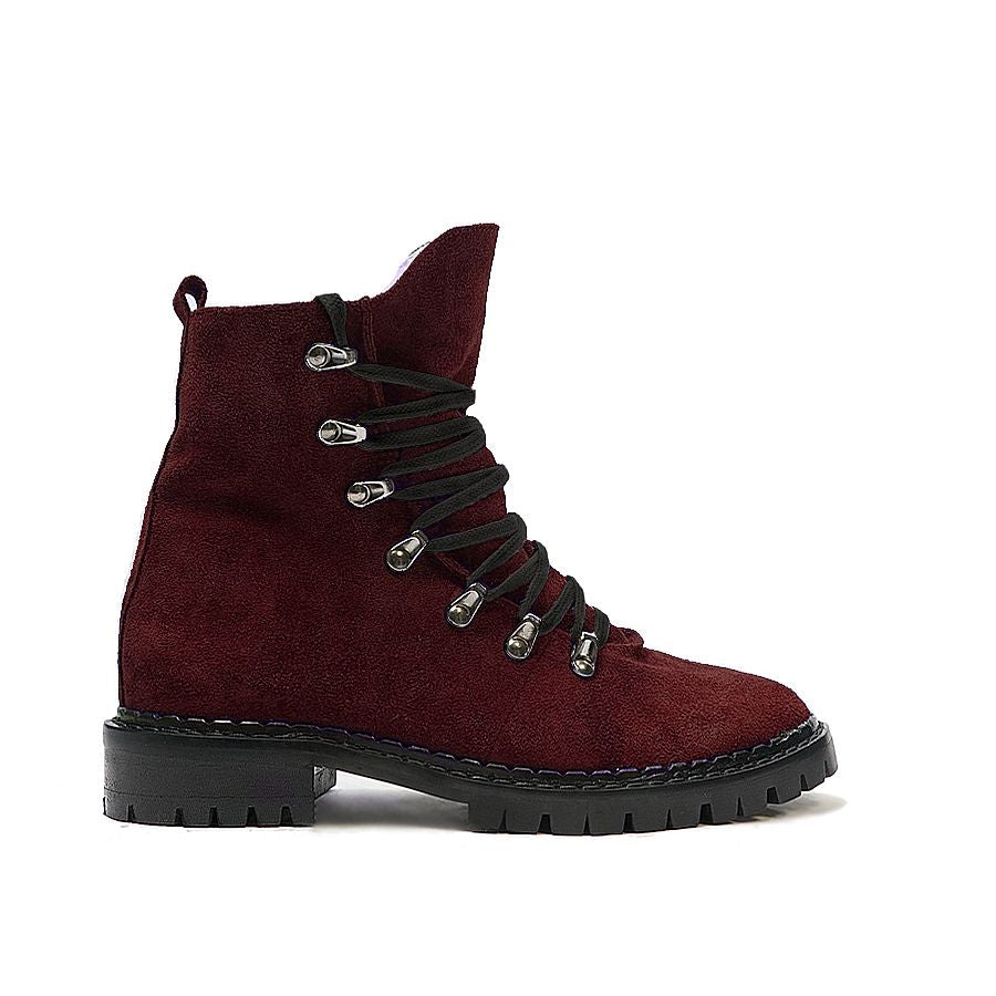 Maroon ankle boots made from real leather
