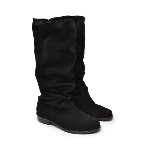 Real leather winter boots in black