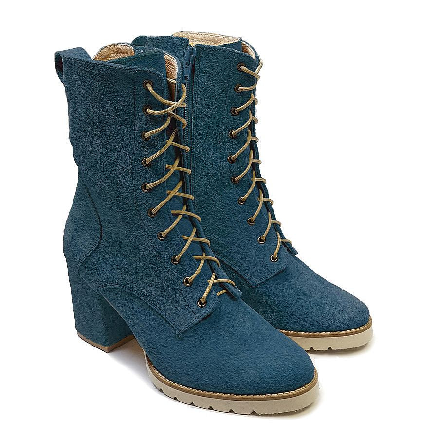 Blue real leather high top boots