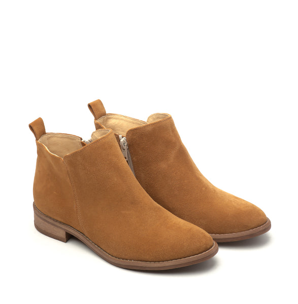 Camel real leather ankle boots