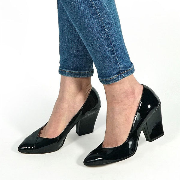 ladies court shoes handmade from black patent leather