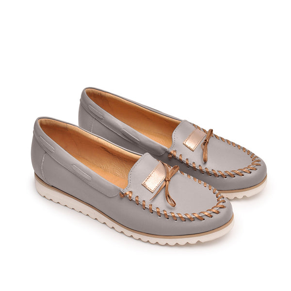 Grey loafers handmade from best quality leather