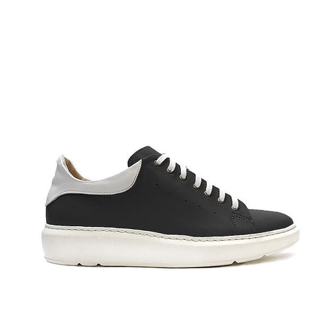 Black real leather ladies trainers