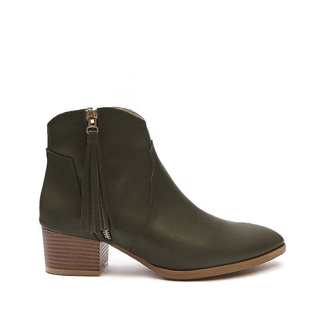 Real leather ladies ankle boots in olive green