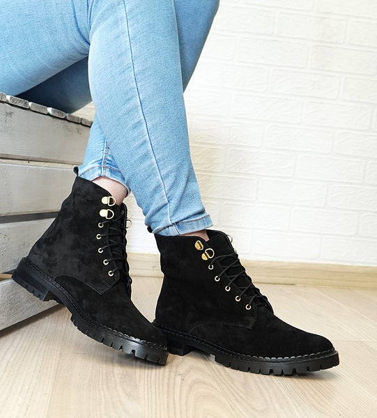 Handmade real leather ladies black boots