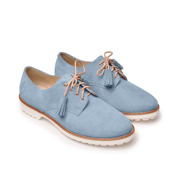 Handmade real leather ladies lace up shoes