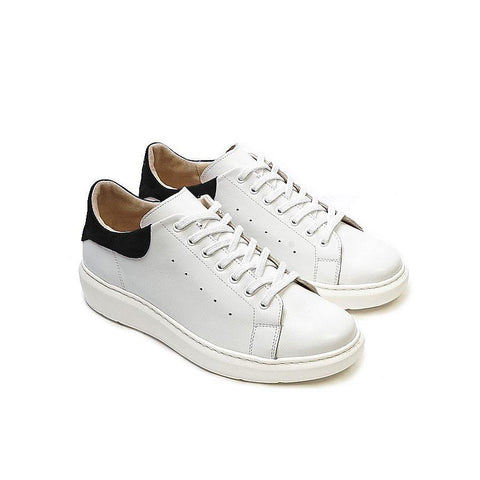 White real leather trainers