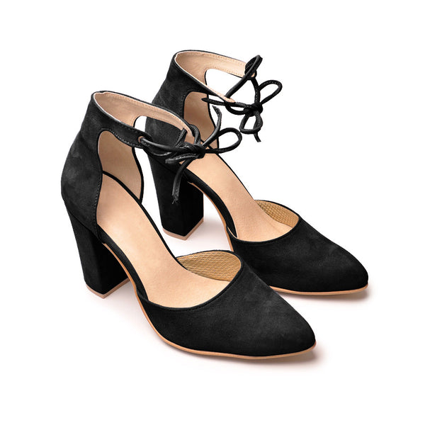 lovely court shoes handmade from suede leather in black colour