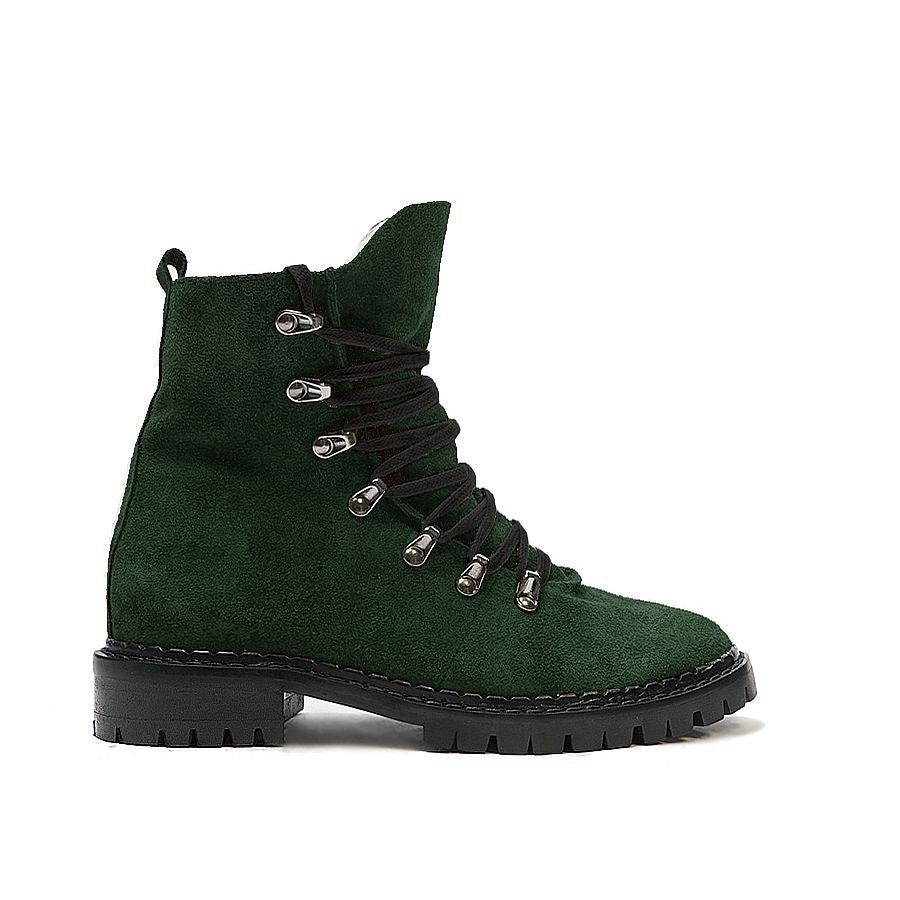 green real leather ankle boots