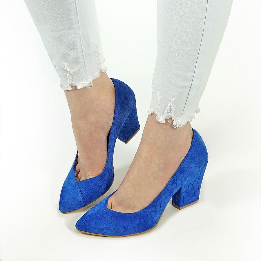 real leather court shoes in blue colour