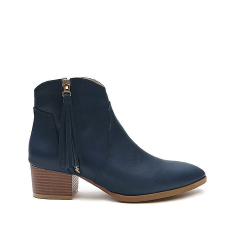 Real leather ladies ankle boots in blue colour