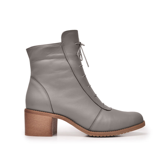 Grey ankle boots made from quality grain leather