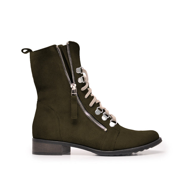 Olive green ladies ankle boots