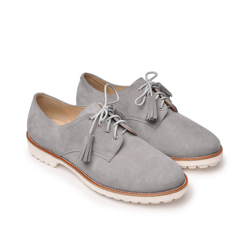 Grey comfortable shoes handmade from soft leather