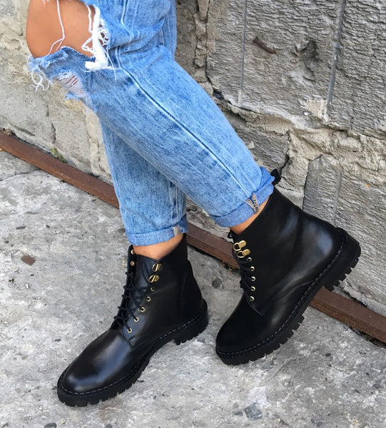 Black high top boots handmade from real leather