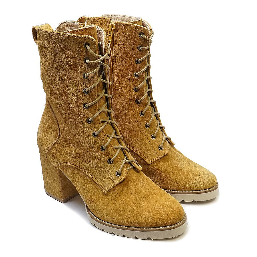 Real leather high top boots