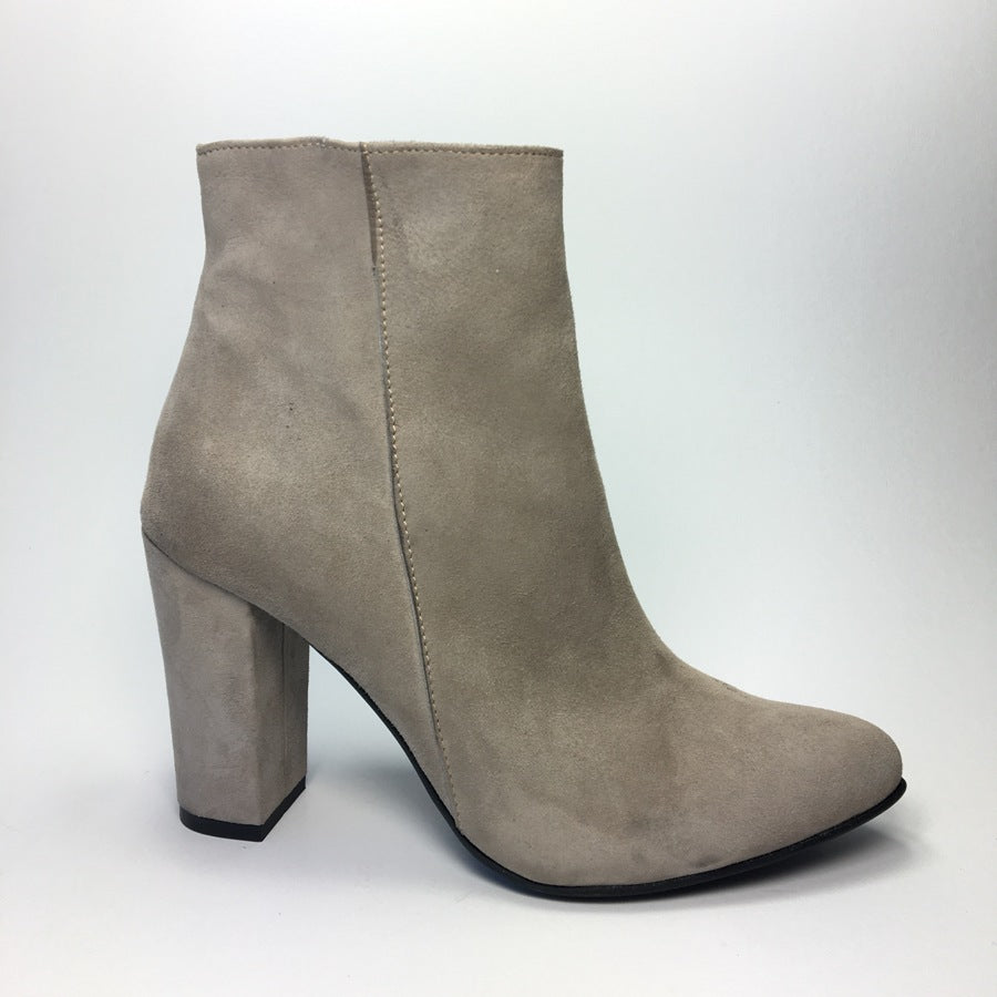 Beige  real leather ladies ankle boots