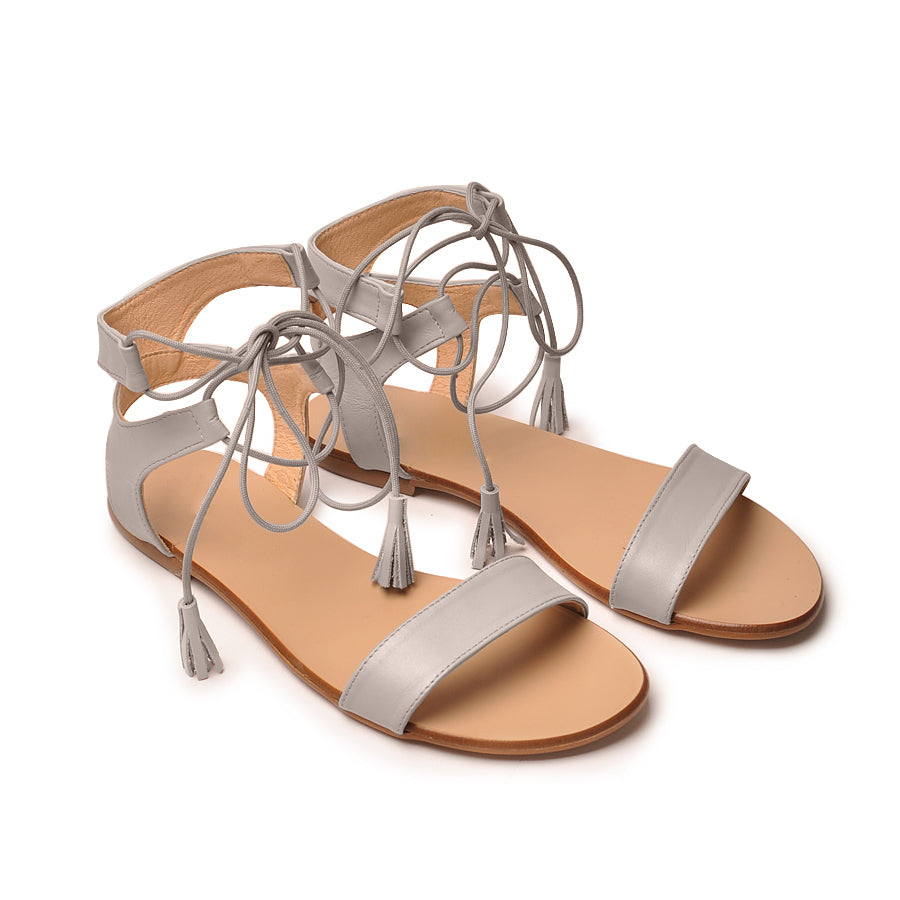 Grey real leather sandals