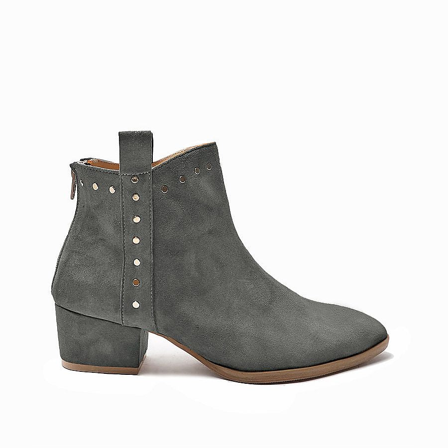 Grey ankle boots handmade from quality leather