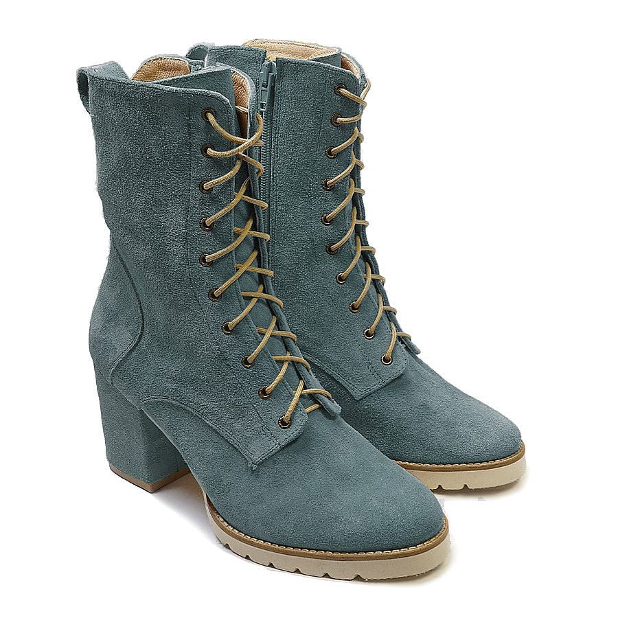 Blue high top boots handmade from real leather
