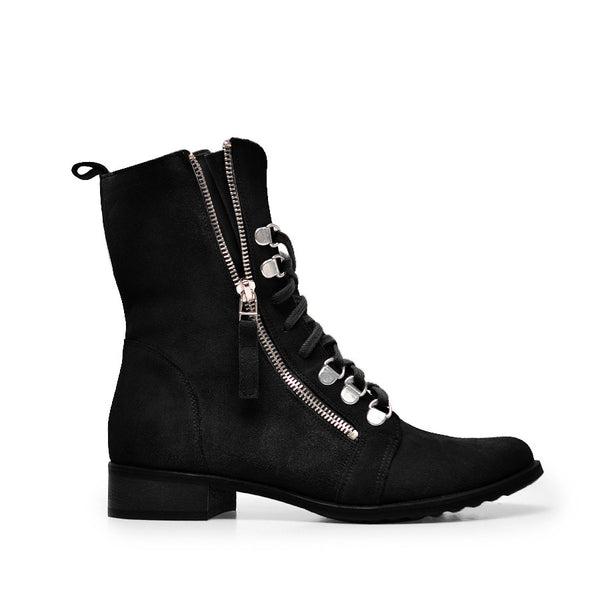 Black high top ankle boots made from suede leather