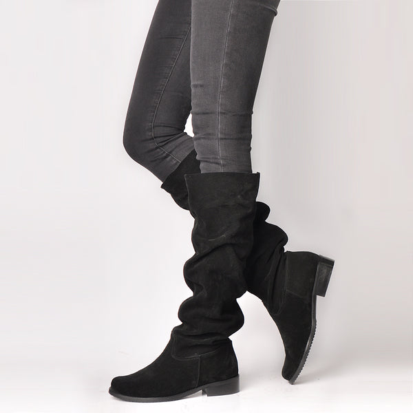 winter boots made from black real leather