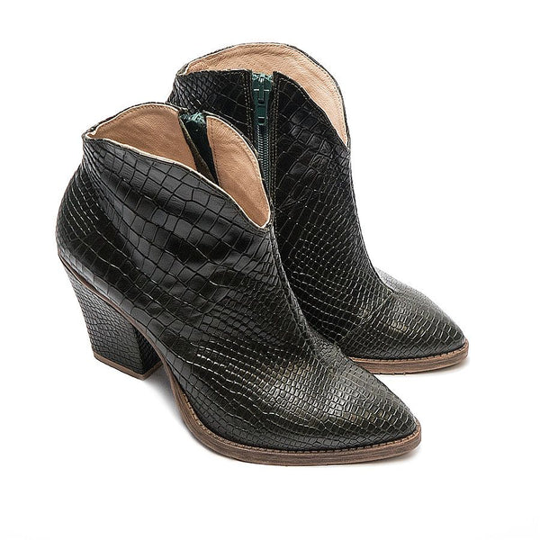 Lovely ankle boots handmade from real crocodile skin effect leather
