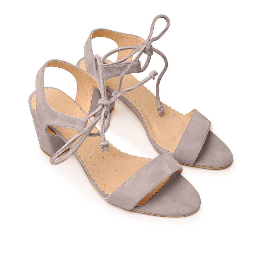 Real leather ladies sandals in grey colour