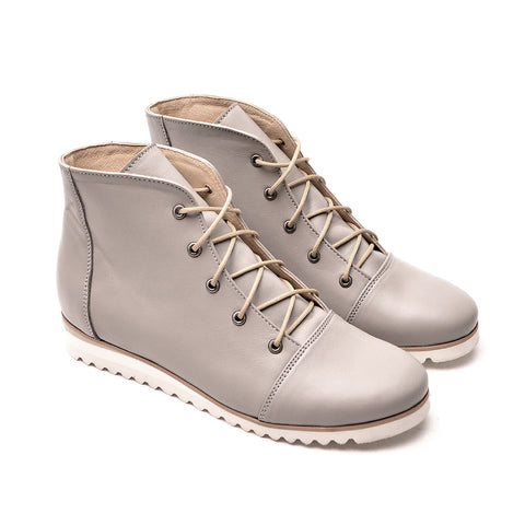 Grey ladies ankle boots handmade from quality real leather