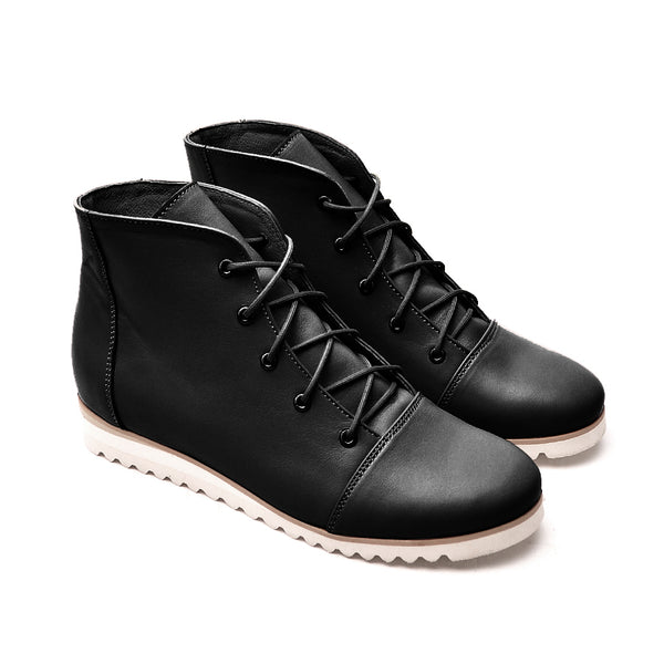 Black ladies ankle boots made from real leather