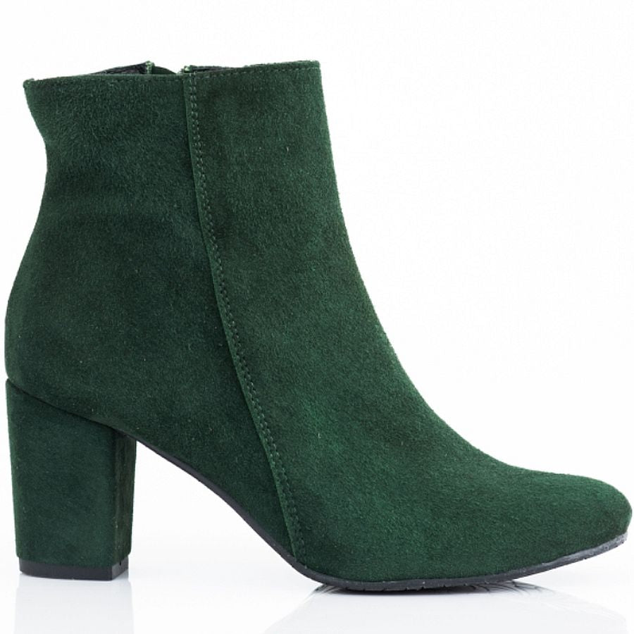 Handmade real leather ladies ankle boots in green colour