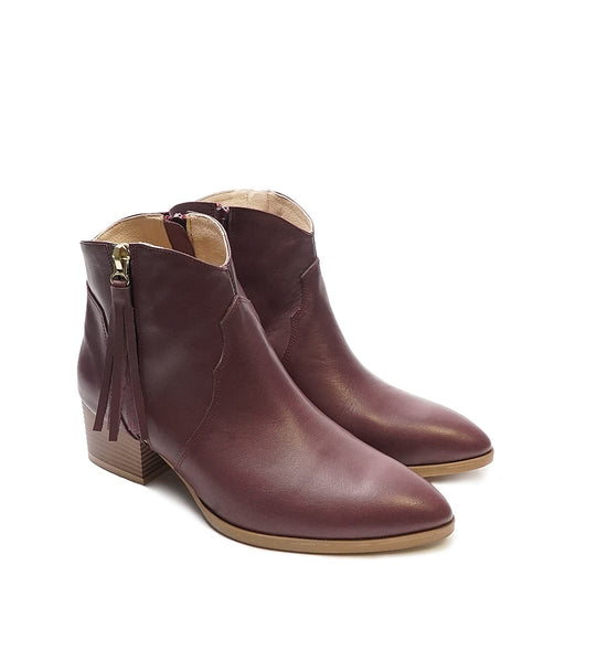 Maroon boots handmade from quality real leather