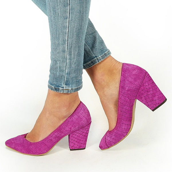 handmade real leather court shoes in purple