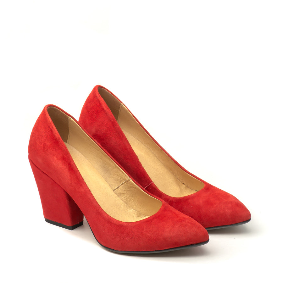 Red court shoes handmade from real leather