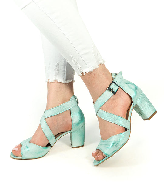 Beautiful heels in green mint