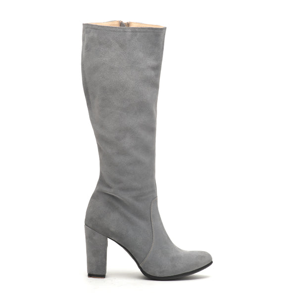 winter high heel boots in grey made from finest real leather