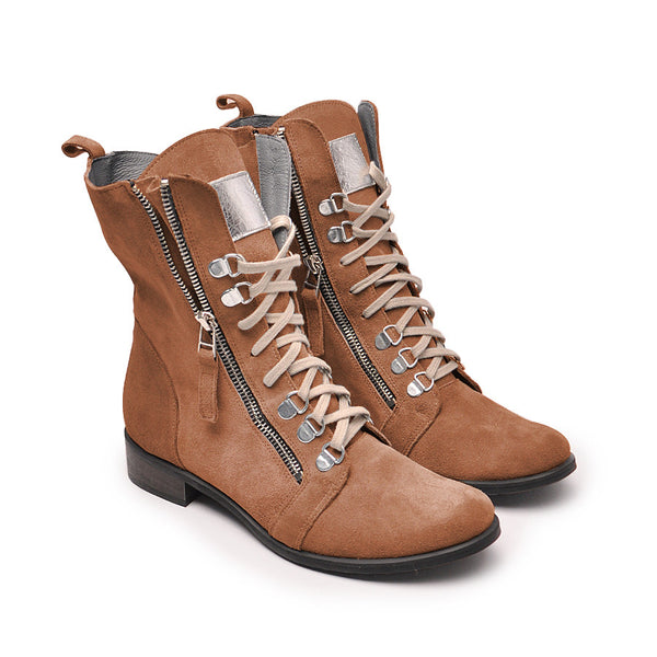 Handmade real leather high top boots