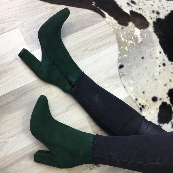 Green ladies ankle boots handmade from quality suede leather