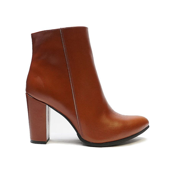 Real leather ladies ankle boots in brown