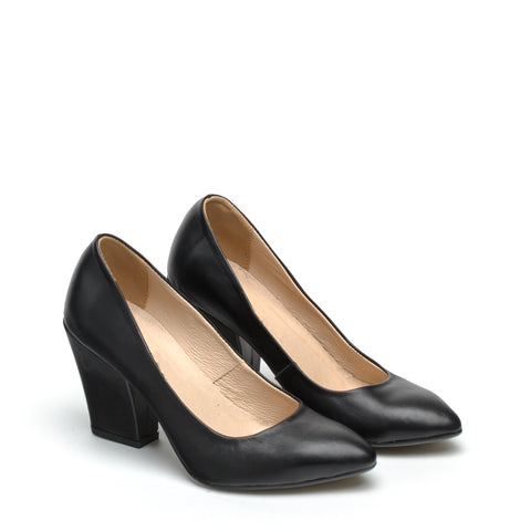 black real leather court shoes