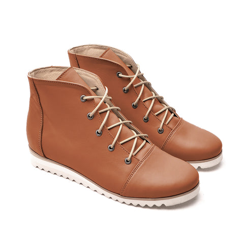Brown real leather ladies ankle boots