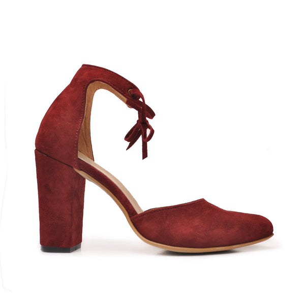 lovely court shoes handmade from suede leather in maroon colour
