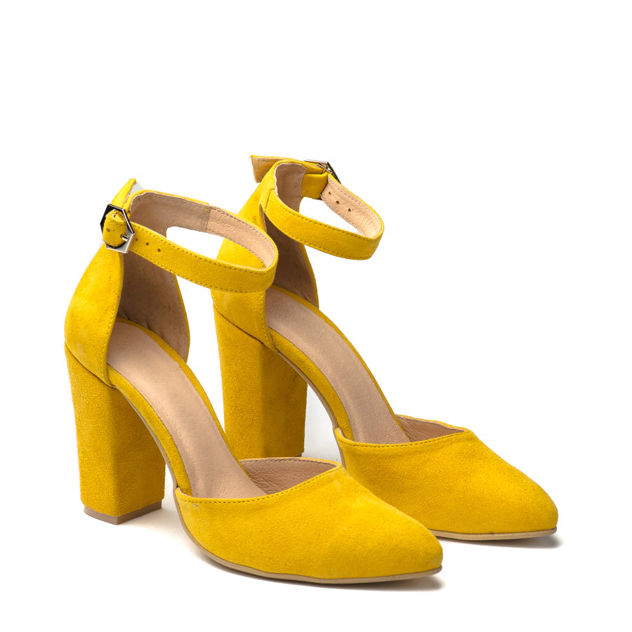 Lovely yellow high heel sandals great for any ocassion, perfect to dress and jeans
