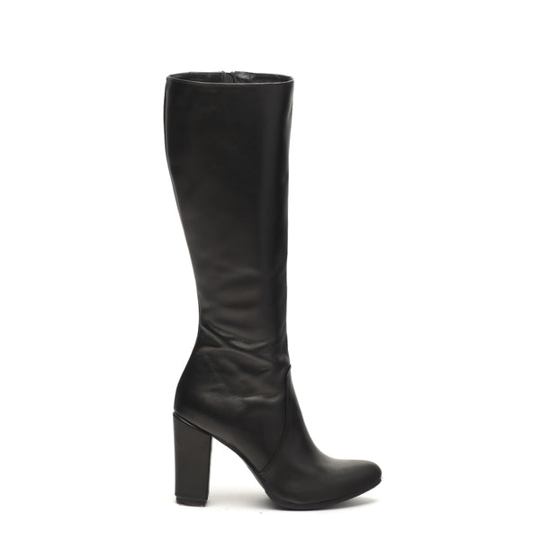 winter high heel boots in black made from finest real leather
