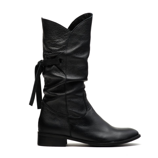 black real leather winter boots